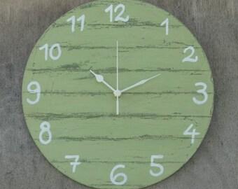 Round Wall Clock Green Shabby Chic