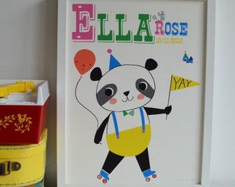 Partying PANDA PERSONALISED Nursery name PRINT Letter P, Personalised Fun Print, New Baby Name Print Gift, Kids Panda Print, Nursery Art