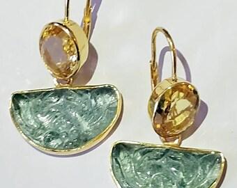 Stunning Aquamarine & Citrine Earring