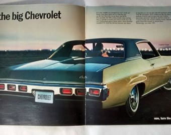 Vintage 1969 Chevrolet Brochure, Corvette, Camaro, Chevelle, Corvair, Chevy, Car, Advertising, Auto, Dealer, Sales