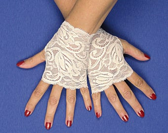 Ivory Lace Gloves  - Off White Fingerless Gloves - Ecru Lace Gloves - Ivory Lace Fingerless Gloves - Ivory Stretch Lace Wedding Gloves