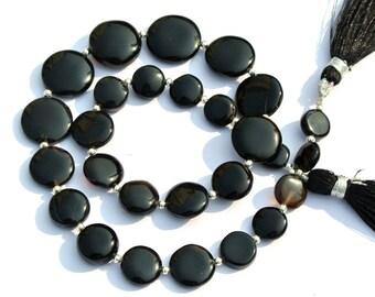 14 Inches Genuine Black Onyx Smooth Coin Briolette Semi Precious Beads, Gemstone Beads, Black Onyx Coin Beads