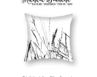 Abstract Grasses Pillow Case, Black White Zen Pillow Cover, Organic Nature Grass Home Decor, Wheat Throw Pillow, Black White Image Pillow