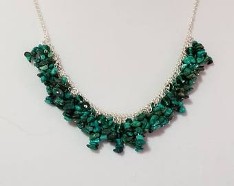 Faux turquoise and crystal cluster necklace