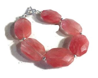 Pink Bracelet - Sterling Silver Jewelry - Cherry Quartz Gemstone Jewellery - Fashion - Chunky