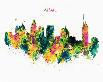 Atlanta Watercolor Skyline Wall art Instant download Skyline art Cityscape Skyline painting Skyline wall Printable art Aquarelle City poster