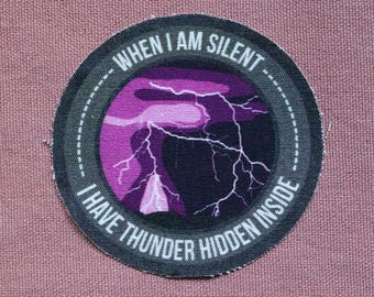 Thunder Hidden Inside Cotton Full Color Sew-On Patch BIG 3.93inch x 3.93inch - PREMIUM QUALITY!
