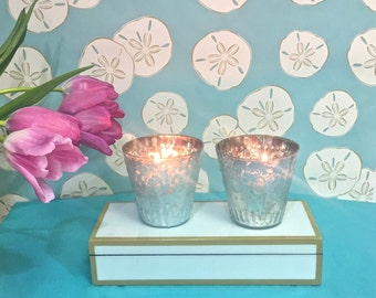 Blue Mercury Glass Candleholders - SALE PRICED Set of 2 - party decor table decor