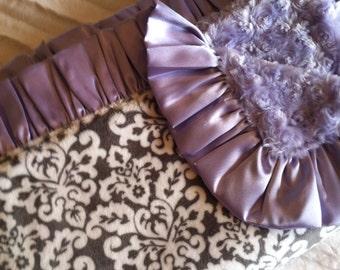 Gray Damask Minky with Lavender Rosebud Minky and Satin Ruffle