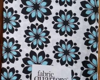 "Fabric Quarters Cotton Fabric 18""- Black & Blue Floral on White"