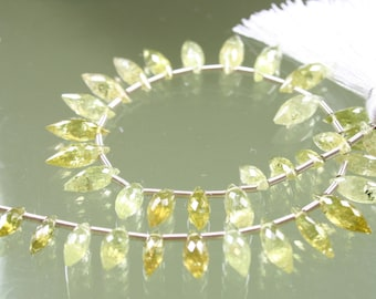 1/2 Strand AA Green Grossular Garnet Faceted Elongated Rice Marquise Briolettes
