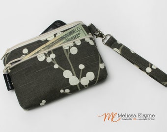 Medium, iPhone 7 Wristlet Wallet, Cell Phone Clutch with Removable Strap -Handmade