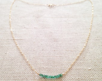 Genuine Emerald Necklace, Emerald Necklace, Real Emerald Necklace, Emerald Jewelry, May Birthstone, Emerald Bead Necklace , Emerald GBN5