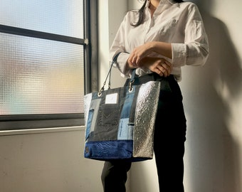 Mackerson Upcycled Jeans handbag Leather handles denim tote