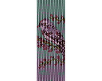 Purple Bird Peyote Bead Pattern, Bracelet Cuff, Bookmark, Seed Beading Pattern Miyuki Delica Size 11 Beads - PDF Instant Download