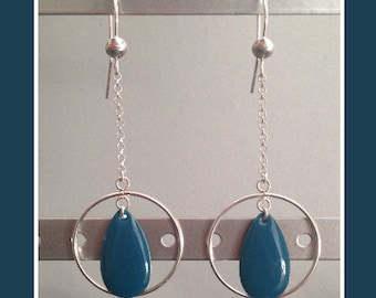 Earrings Silver 925 and resin epoxy oil