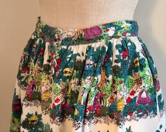 Vintage 40s 50s Rare Novelty print skirt