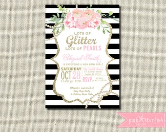 Baby Shower Invitation, Glitter and Pearls Baby Shower Invitation, Pearl Baby Shower Invitation, Pink and Gold Baby Shower, Ribbons Pearls