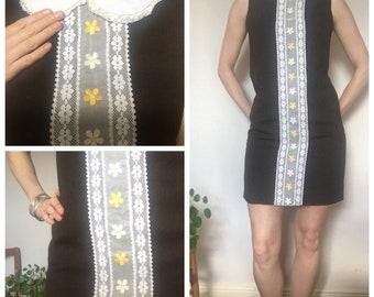 60s vintage brown dress Peter Pan collar lace detailing uk 10