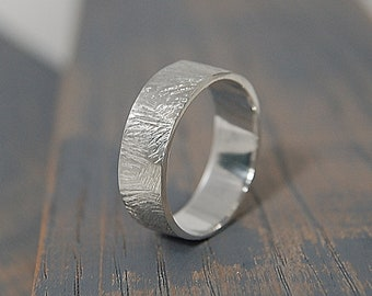 Rustic Man Ring Band Brushed Sterling Silver, Mens Rustic Sterling Silver Wedding Band Ring Brushed, Mens Rustic Silver Ring