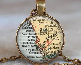 San Diego map pendant, San Diego pendant, San Diego necklace, vintage map jewelry, San Diego keychain key chain
