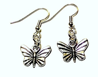 Dainty and Simple Silver Butterfly Earrings - Butterfly Jewelry - Silver Butterfly Charm Earrings - Handmade Gift Ideas - Gifts under 20