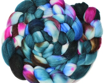 Party in the Pines - hand-dyed merino wool and silk (4 oz.) painted combed top