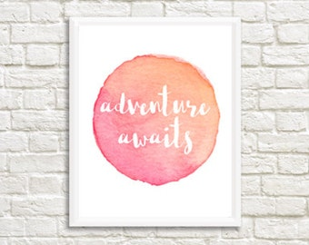 Adventure Awaits Watercolor Digital Print 8 x 10