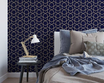 Navy and gold hexagon removable wallpaper / cute self adhesive wallpaper / navy geometric temporary wallpaper G192-27