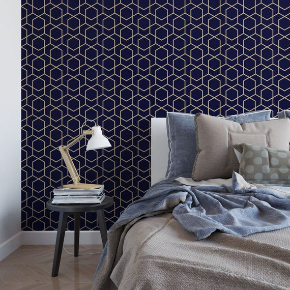 Dark Blue Wall: Navy And Gold Hexagon Removable Wallpaper / Cute Self Adhesive