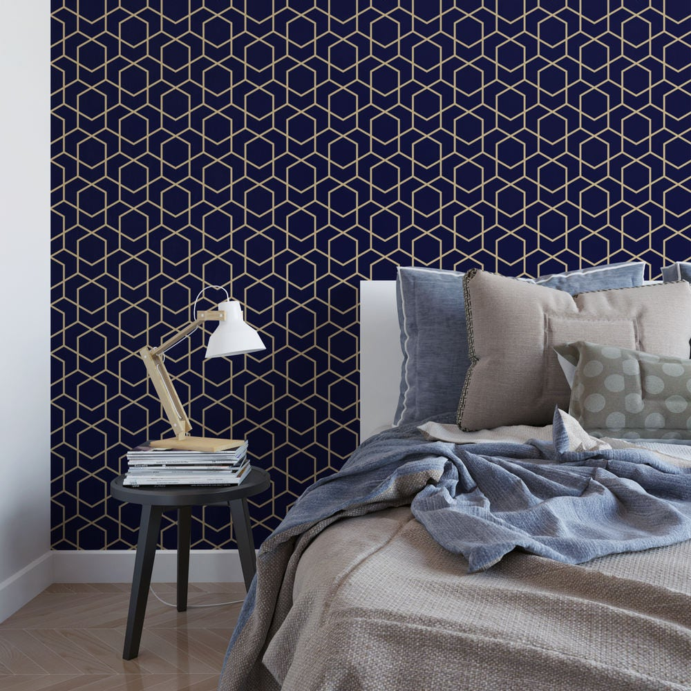 Navy and gold hexagon removable wallpaper cute self adhesive - Navy gold wallpaper ...