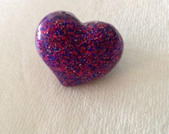 Purple Glittery Heart Ring