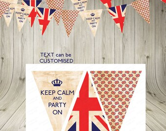 British bunting download/Vintage Union Jack  Keep Calm Bunting/ Garland/INSTANT DIGITAL DOWNLOAD/party printable/party flags/