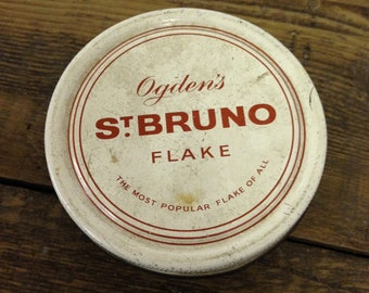 Vintage Ogdens St Bruno Flakes Round Tin.  Vintage Tobacciana in good used condition