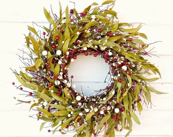 4th of July Wreath-Rustic Twig Wreath-Summer Wreath-Holiday Wreath-BAY LEAF Twig Wreath-Year Round Wreath-FarmHouse Decor-Custom Gifts