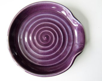 Purple Plum Spoon Rest, Ladle Rest, Glazed in deep purple, wheel thrown Pottery