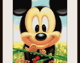 Mickey Mouse and nature, cross stitch pattern, cross stitch disney, cross stitch Mickey, disney pattern, PDF pattern - instant download!