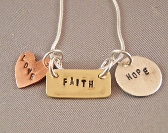 Faith Love Hope Inspirational Necklace - Multi metal - graduation gift - mothers day gift