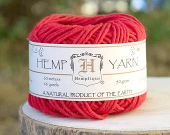 Hemp Yarn, Red Yarn, Hemp Cotton  Yarn, Knitting Yarn, Red Wool
