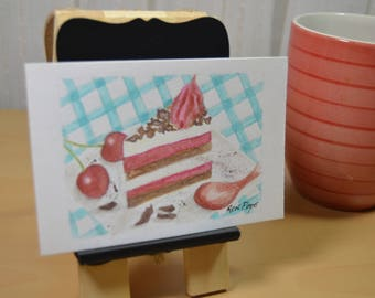 Original ACEO Watercolor Painting - Neapolitan Cake Watercolor Art