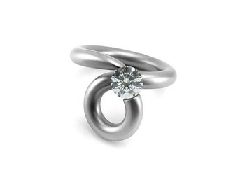 White Sapphire Unique Swirl Tension Ring Stainless Steel