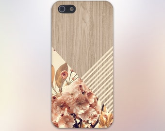Romantic Flowers Beige Stripes Wood Print Case,iPhone X, iPhone 7 Plus, Tough iPhone Case, Galaxy s9, Samsung Galaxy Case Note 8 CASE ESCAPE