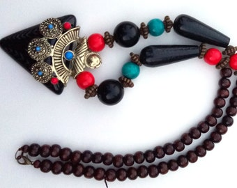 """1 Pc Wooden/Stone Artificial Handmade Designer Necklace Fashion Jewelry Free Shipping 23"""" Long/ Artificial Jewelry/Beaded Necklace"""