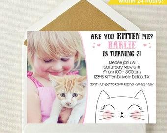 Kitten Photo Invitation / Kitten Birthday / Kitty Birthday Invitation / Are You Kitten Me Invite / Kitten Invitation / Smitten Kitten Party