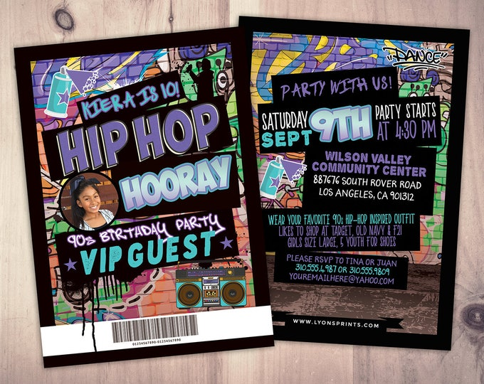 Hip Hop, Swagger, VIP PASS, backstage pass, Vip invitation, birthday invitation, pop star, lanyard, Fresh Prince, birthday, DJ, 90s party