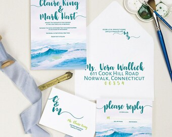 Ocean Waves Wedding Invitation, Watercolor Wedding Invite Sample