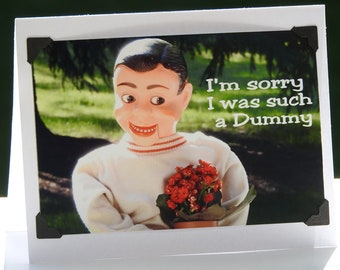 Sorry Greeting Card Ventriloquist Card Dummy Card Blank Inside Ventriloquist Greeting Card Ventriloquist Im Sorry I Was Such A Dummy Card