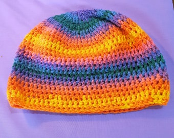 Colourful Crochet Festival Beanie Hat for Teens and Adults