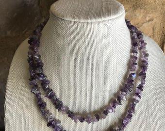 "Vintage Amethyst Chip Necklace, Long Purple Gemstone Bead Necklace, February Birthstone Necklace, Boho Necklace, 38"" L"