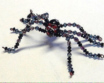 Black Widow Spider Swarovski Crystal Figurine Beaded Female Arachnid Unique Birthday/Fathers/Mothers/Day/Gift/Present Scary Mans/Womans